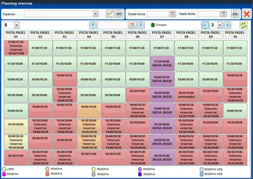 Reservas y espacios giesport software de gesti n - Gestion de espacios ...